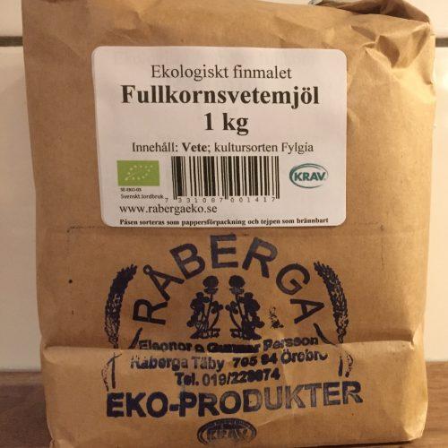 Fullkornsvetemjöl 1 kg, av kulturspannmålssorten Fylgia röd